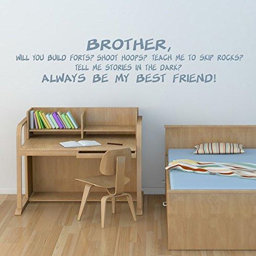 Bruder meines besten Freundes Wandsticker Wandtattoo Zitat-Kunst verfügbar in 5 Größen und 25 Farben Klein - Zitate, Kleine Wandtattoos Bruder