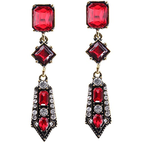 ArtiDeco 1920s Ohrringe Boho Damen Retro Bohemian Stil Dangle Ohrringe Damen Gatsby Kostüm Accessoires (Stil 3-Weinrot)