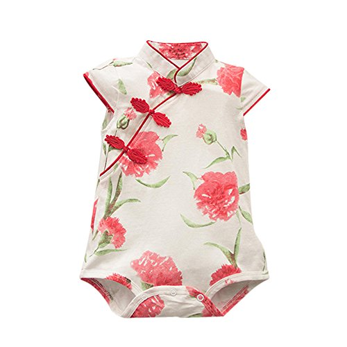 jieGREAT ❤❃Kinderkleidung Räumungsverkauf❤❃,Toddler Baby Girls Rose Flower Print Sleevelless Cheongsa Chinese Style Romper by