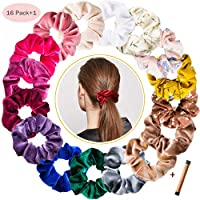 Hair Scrunchies - 16 Pieces Velvet Hair Ties Elastic Scrunchy Bobbles Hair Bands Colorful Chiffon Hair Scrunchies Ponytail Holders Hair Accessories Bands and 1 Hair Bun Maker(16 colors)