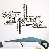 DESIGNSCAPE® Wandtattoo Schlafzimmer Wortwolke 120 x 80 cm (Breite x Höhe) dunkelgrau DW803298-M-F7