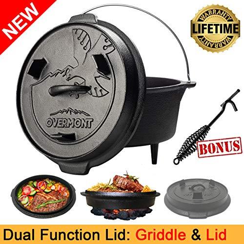 Overmont Feuertopf Dutch Oven Gusseisen Kochtopf 5,7 Liter / 8,8 Liter [Doppelfunktion Deckel & Grillplatte] [mit Deckelheber Füße] für Barbecue Camping Garten und Grillen