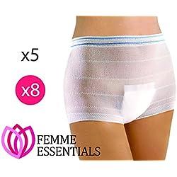 Femme Essentials Maternity Pants para maternidad | Bragas hospitalarias cómodas y elásticas de un solo uso | perfectas para antes o después del parto | Paquete de 8 |