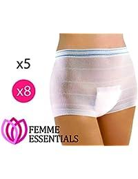 Femme Essentials Maternity Pants| Bragas/ Braguitas Desechables premama/postparto por la maternidad | Braguitas hospitalarias cómodas y elásticas perfectas para antes o después del parto|Paquete de 8