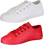Chevit Men's White and Red Canvas and EVA Sneakers Shoes - 9 (Combo Pack o