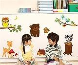 UberLyfe Owl Squirrel Cartoon Animals Birds on Tree Nursery Wall Sticker Size 4 (Wall Covering Area: 110cm x 140cm) - WS-000119