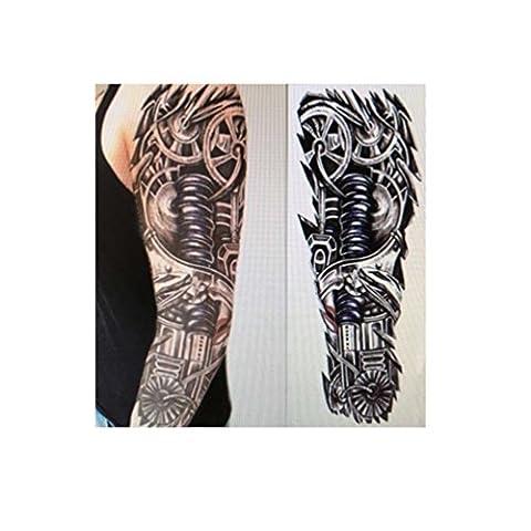 Samtaiker 3D schwarze Tattoo Männer Roboter wasserdichte temporäre Tattoo für das Festhalten auf Arm Bein Körper (Schwarz Rocker-uhr)