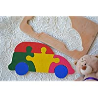 Waldorf Wooden puzzle Baby Toy Car Montessori Educational Toys wood transport puzzles Baby Shower Gift Organic learning game Baby boy Gift sorting toys Stacking Eco friendly Toddler game