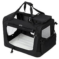 SONGMICS Faltbare Oxford Gewebe Hundebox Katzenbox Hundetransportbox - L 70x52x52cm Schwarz PDC70H