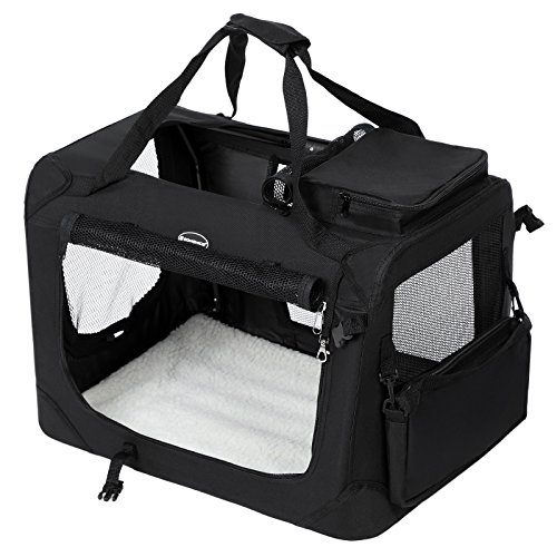 SONGMICS Hundebox Transportbox Auto Hundetransportbox faltbar Katzenbox Oxford Gewebe schwarz S 50 x 35 x 35 cm PDC50H