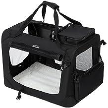 SONGMICS Bolsa de Transporte para Mascotas Transportín Plegable para Perro Portador Tela Oxford Negro L 70
