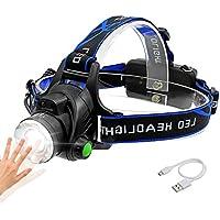 Linterna Frontal, Sotical Veamor Linterna de Cabeza Recargable USB 4 Modos de Luz LED, Impermeable Para Camping, Pesca, Ciclismo, Carrera, Caza etc.