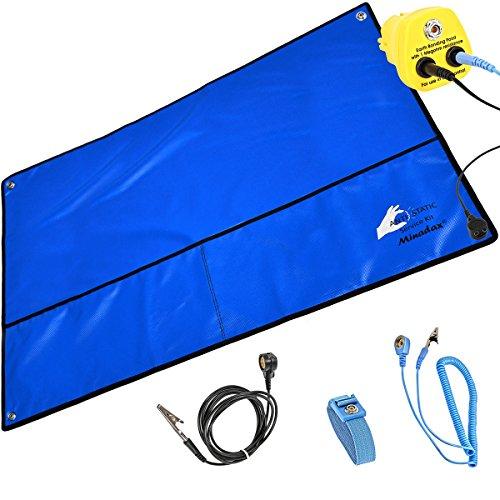 Minadax® XXL 60 x 80cm Antistatik ESD Matte in blau inkl. Handschlaufe + Verlängerung - Garn Manschette