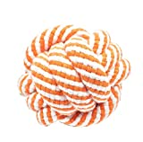 #4: SRI High Quality Durable Chew Knoted Cotton Ball Fetch Toy For Puppy/Cat (Orange White)