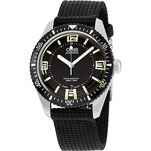 Oris Men's Divers 40mm Black Nylon Band Automatic Watch 01 733 7707 4064-TSBLK