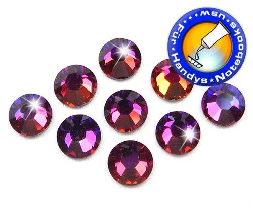 100 Stück SWAROVSKI ELEMENTS 2058 XILION - KEIN Hotfix, Farbe Crystal Volcano, SS5 (Ø ca. 1,8 mm), Strass-Steine zum Aufkleben (Tattoo Swarovski)