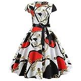 Kleider Damen Kleid 1950er Vintage Retro Brautjungfernkleid Petticoat Lange Ärmel Ballkleid Hepburn Cocktailkleid Rockabilly, Kurzarm O Hals Abend Druck Party Prom Swing Kleid(5,X-Large)