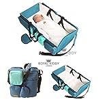 Royal Kiddy London© 3in 1faltbar Baby Travel Tasche als Baby Wickeltasche, Kindergartentasche, Windeln Tasche & Stubenwagen (türkis blau)