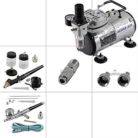 Agora-Tec® Airbrush Komplett-Set EXPERT I.1, inkl. Kompressor mit 4 bar & 20l/min + 2 Airbrushpistolen mit 0,2 & 0,3 & 0,5 & 0,8mm Nadeln/Düsen + 2 Schnellkupplungen + 1 Schlauch +