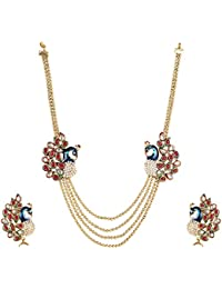 DS Gold Plated Multicolour Party Wear Dancing Peacock Necklace Set With Earrings For Women And Girls(DS210)
