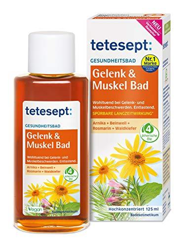 Tetesept Gelenk & Muskel Bad - Wohltuendes Gesundheitsbad mit ätherischem Öl - Flüssiger Badezusatz für beanspruchte Muskel- & Gelenkpartien - 1 x 125 ml