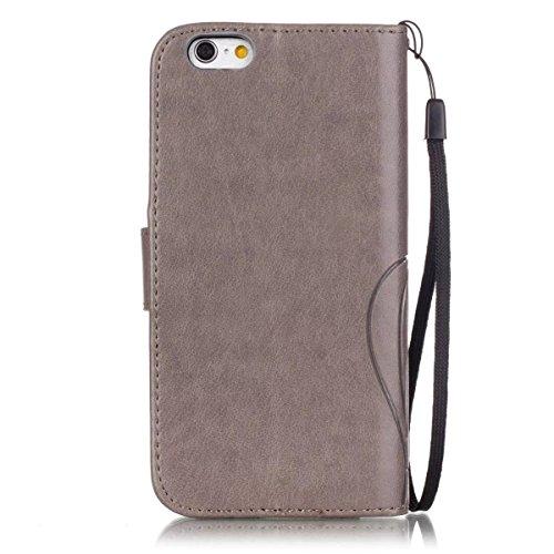 iPhone Case Cover Premium PU Housse en cuir Housse Folio Flip Case Embossing Fleur pour iPhone 6 6S 4,7 pouces ( Color : Black , Size : IPhone 6S 6 ) Gray