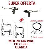2 x Leve FRENO + 2 x V-Brake FRENO + Filo ANT + POST per BICICLETTA Mountain Bike / City Bike / Olanda / Graziella / Bimbo