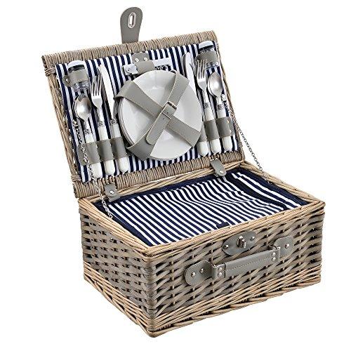 [casa.pro]  Picknickkorb für 4 Personen - Picknick-Set mit Kühltasche inkl. Geschirr, Besteck, Korkenzieher und Gläser (blau-weiß)