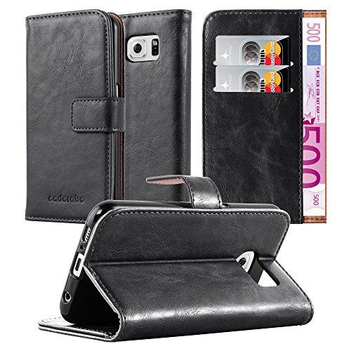 Preisvergleich Produktbild Cadorabo Hülle für Samsung Galaxy S6 - Hülle in Graphit SCHWARZ – Handyhülle im Luxury Design mit Kartenfach und Standfunktion - Case Cover Schutzhülle Etui Tasche Book