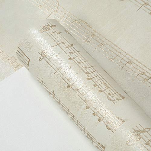 Modernes amerikanisches Tapetenpersönlichkeitspersonal notiert Tapetenwohnzimmerschlafzimmerklavierraummusikklassenzimmertrainingshintergrundtapete (Color : Vintage beige Yellow) -