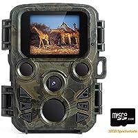 FLAGPOWER Mini Wildkamera mit Bewegungsmelder Nachtsicht, Wildkamera Fotofalle 1080P Full HD 12MP Jagdkamera Infrarote 20m IP66 Wasserdicht Überwachungskamera mit Karte