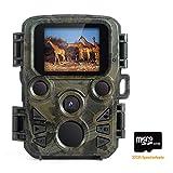 Mini Wildkamera mit Bewegungsmelder Nachtsicht, FLAGPOWER Wildkamera Fotofalle 1080P Full HD 12MP Jagdkamera Infrarote 20m Nachtsicht Wasserdichte IP66 Überwachungskamera mit 32GB Micro SD Karte 1.9
