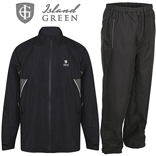 """50% OFF"" ISLAND GREEN MENS WATERPROOF GOLF SUIT JACKET & TROUSERS !!!!!!!!!!!!! (Black/Black, X-Large)"