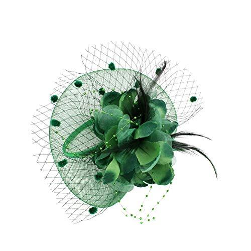 FORLADY Sonnenschutzmittel Temperament Elegant Rundschreiben Mesh Net Blume Feder Fascinator Haarspange Hut Bankett Hochzeit Haarspangen