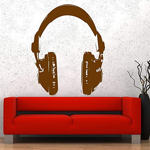 Preisvergleich Produktbild Zaosan Musik Kopfhörer Wandtattoo Kopfhörer Rock Pop Wandaufkleber Musik Studio Lustige Kunstwand Wohnkultur 56x69 cm