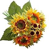 happy event Unechte Blumen | 5 Köpfe Sonnenblume Künstliche Deko Blumen Gefälschte Blumen | Braut Hochzeitsblumenstrauß für Haus Garten Party Blumenschmuck