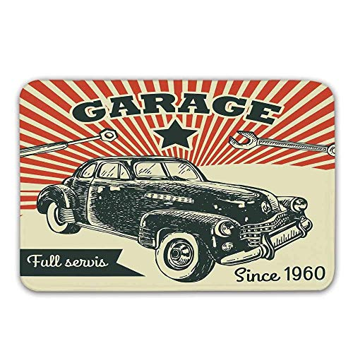 ürmatte, Retro Auto und Garage Werbung Poster Style Bild mit Grunge-Effekten der 1960er Jahre Thema Fußmatte für innen oder außen Badematte ()