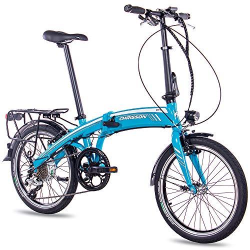 CHRISSON 20 Zoll E-Bike City Klapprad EF1 blau - E-Faltrad mit Bafang Nabenmotor 250W, 36V und 30 Nm, Pedelec Faltrad für Damen und Herren, praktisches Elektro Klappfahrrad, perfekt für die Stadt