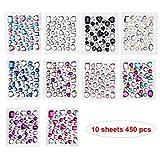 Phogary 450pcs 10 fogli autoadesivi strass adesivo, multicolore Bling gioielli artigianali gemma di cristallo adesivi, assortiti dimensioni e forme