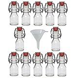 Viva Haushaltswaren - 12 x Mini Glasflasche 50 ml mit Bügelverschluss aus Porzellan zum Befüllen, als kleine Likörflasche & Ölflasche verwendbar (inkl. Trichter Ø 7 cm)