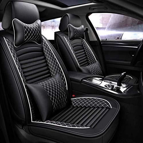 Bmdha coprisedili per auto pelle 3d completamente circondato morbido cuscino del sedile set completo 5 posti modello universale adatto per tutto l'anno,black