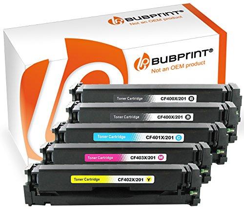 Preisvergleich Produktbild Bubprint 5 Toner kompatibel für HP CF400X CF401X CF402X CF403X 201X für Color Laserjet Pro M252DW M252N M274N M274DN MFP M277DW MFP M277N BK C M Y