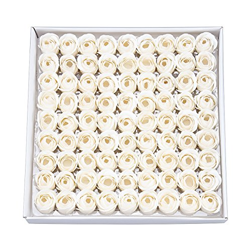 Weiye sapone a forma di rosa, sapone profumato ai fiori, sapone con olio essenziale della pianta, regalo per anniversario, compleanno, matrimonio, san valentino, 81 pezzi bianco