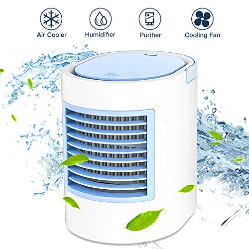 Klimagerät Mobil,Anbber persönlicher 4 in 1 Multifunktions-USB-tragbarer Mini-Klimaanlage, Luftbefeuchter und Luftreiniger mit Nachtlicht, 3 Leistungsstufen für Home Office-Camping (Blau)