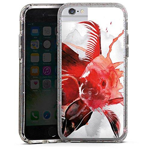 Apple iPhone 8 Bumper Hülle Bumper Case Glitzer Hülle Fisch Art Kunst Bumper Case Glitzer rose gold