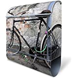 banjado - buzón con compartimento para el periódico de acero de 38 x 42 x 11 cm buzón de pared con diseño de nostalgia de la rueda