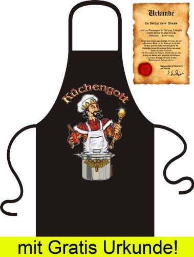 Beliebte Koch/Grill Schürze Apron + gratis URKUNDE für Hobbyköche mit genialem Motiv: Küchengott Farbe schwarz -
