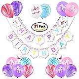 Konsait Geburtstagsdeko, Geburtstag Dekoration Set Kindergeburtstag Deko Mädchen Einhorn Party Alles Gute Zum Geburtstag Girlande Banner und 30 Regenbogen Einhorn Latex Luftballons Partyballon