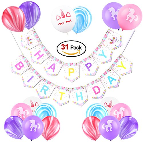 """Konsait Kit Decorazione Festa di Compleanno, Striscione """"Happy Birthday"""" con 30 Colorato Marmo Unicorno Palloncini in Lattice per Ragazze Feste Di Compleanno Decorazioni"""