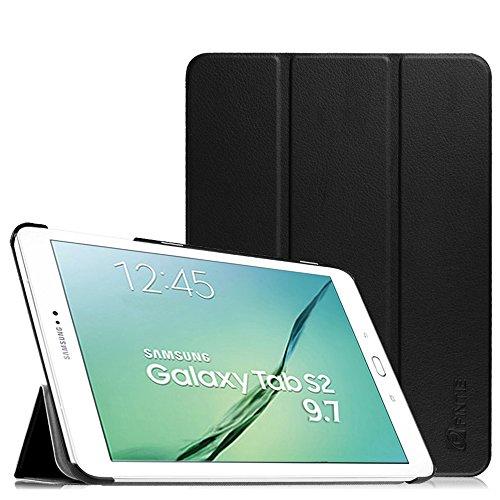 Fintie Samsung Galaxy Tab S2 9.7 Hülle Case - Ultra Schlank Superleicht Ständer SlimShell Cover Schutzhülle Tasche mit Auto Schlaf / Wach Funktion für Samsung Galaxy Tab S2 T810N / T815N / T813N / T819N 24,6 cm (9,7 Zoll) Tablet-PC, Schwarz (Samsung Tablet Tasche Für Auto)